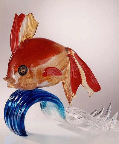 Murano glass goldfish on a blue crystal wave