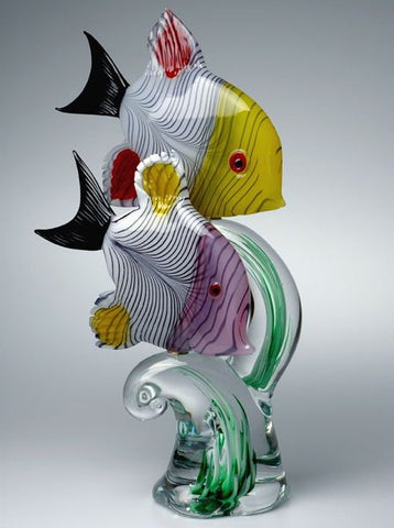 Murano glass tropical fish on a 'seaweed' base