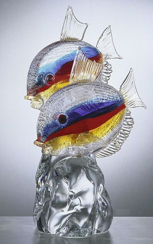 Striped Murano glass fish on a crystal base