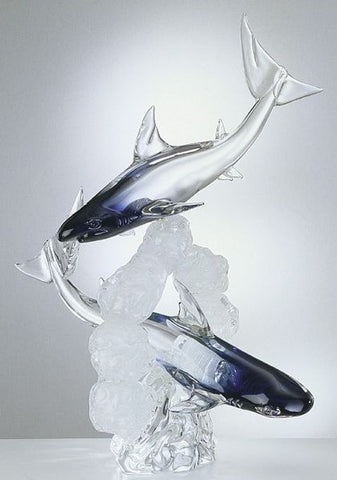 Murano glass sharks with 'northern lights' blue
