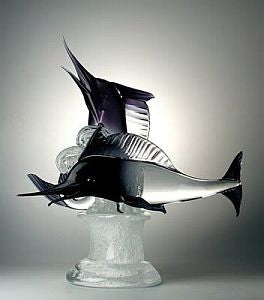 Murano glass marlins on a crystal base