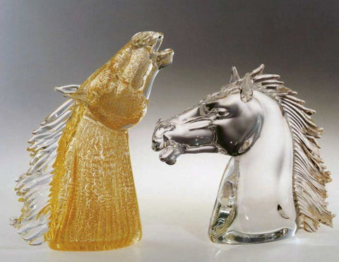 Murano glass horse heads with gold