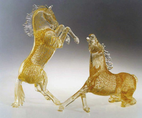 Pair of Murano glass horses in gold