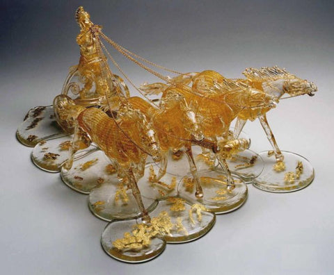 Murano glass chariot with 4 horses