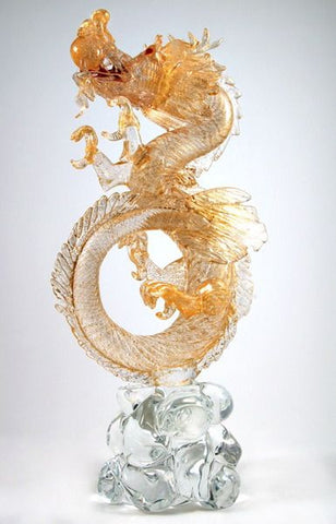 Murano glass dragon with 24 carat gold