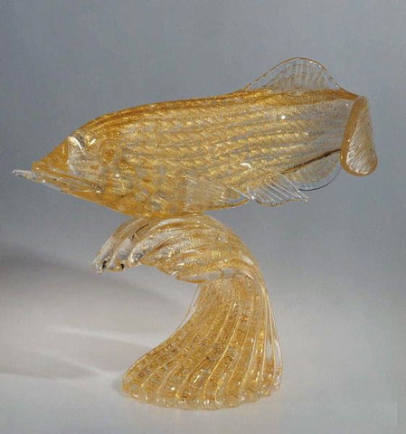 Murano glass fish in 24 carat gold