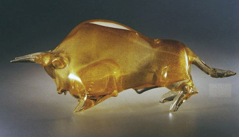 Murano glass bull with 24 carat gold