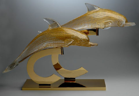 Murano glass dolphins with 24 carat gold