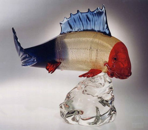 Murano glass redfish with sterling silver