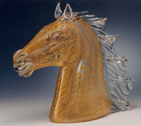 Murano glass horse head with gold