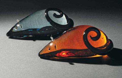 Murano glass mice in grey and amber