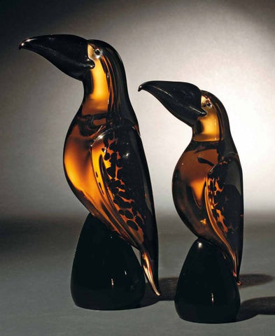Pair of Murano glass toucans in amber and black