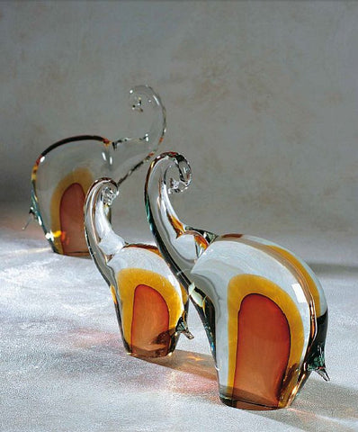 Sbruffi ruby and amber elephants in three sizes