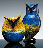 Pair of Murano glass owls in yellow and blue