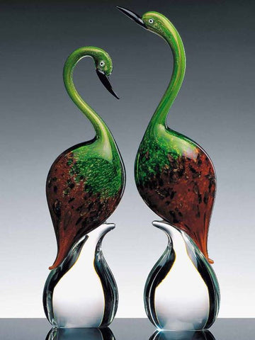 Pair of Murano glass herons in red and green