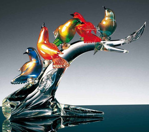 Murano glass branch with 5 birds