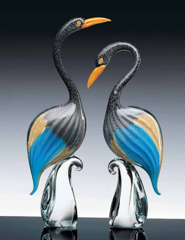 Pair of Murano glass herons in aquamarine