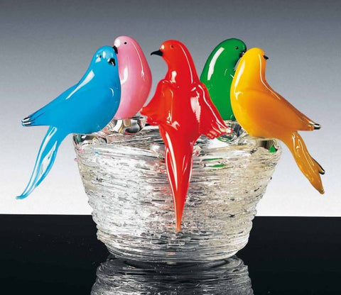 Murano glass garden birds on a nest