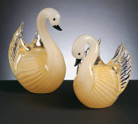 Pair of Murano glass swans in silk and gold