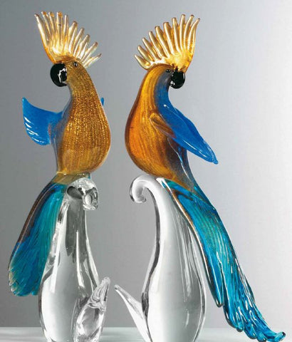 Pair of gold and blue parrots