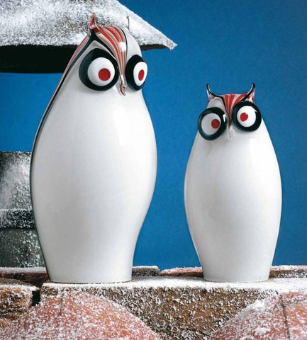 Pair of whimsical modern owls