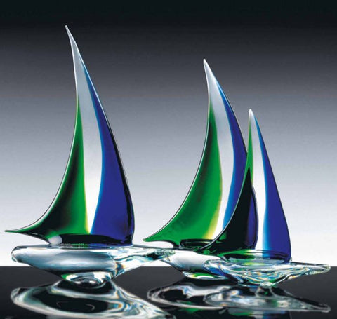 Crystal, green and blue sailing boats