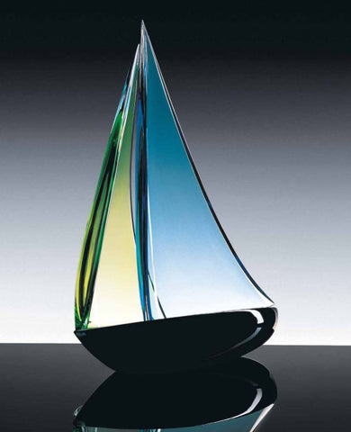 Murano glass sailing boat