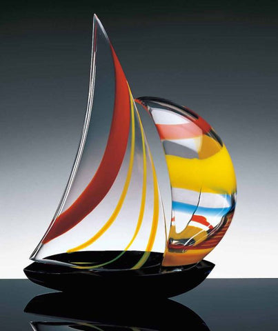 sailboat with colourful spinnaker