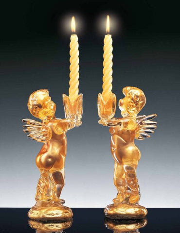 Gold cherub candlesticks