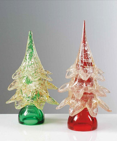 Red and green Christmas trees with gold