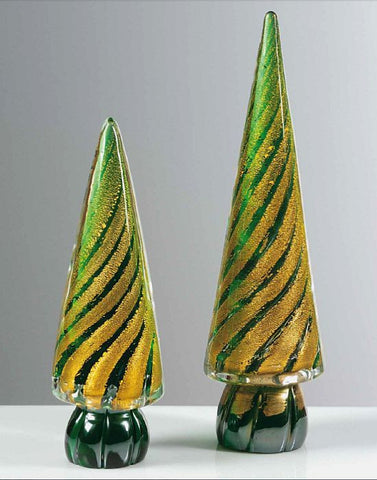 Pair of green and gold Christmas trees
