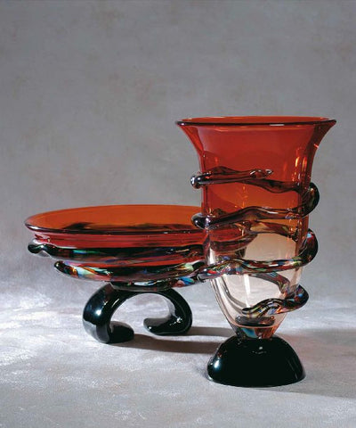 Murano glass red bowl and matching vase with  'morises'
