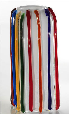 Modern vase with multi-coloured canes