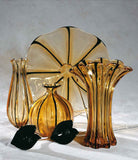 Classic amber and black vases and large plate