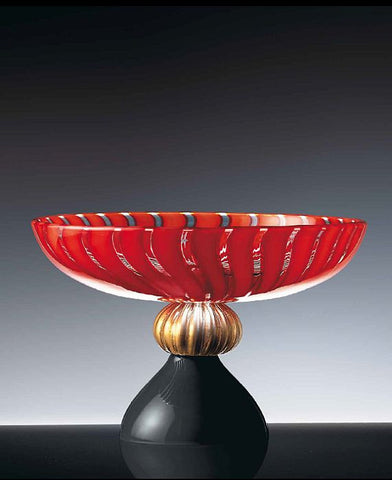 Large bowl in red and black with gold