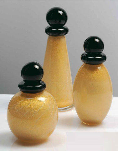Collectable perfume bottles in milk and gold