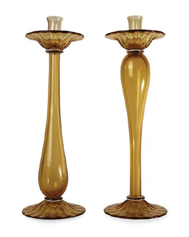 Amber glass tablesticks in two designs