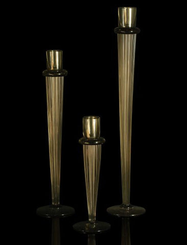 Tall amber glass candleholders