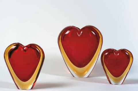 Heart vases in red and amber