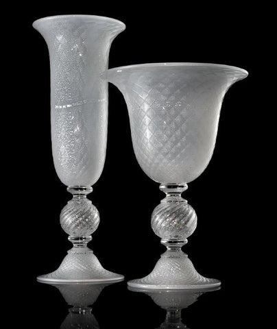 Large crystal vase and bowl with bubbles