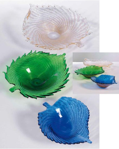 Blue, green and crystal leaf bowls with gold
