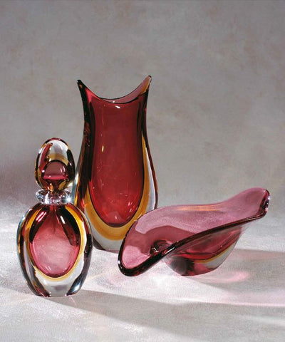 Bottle, vase and bowl set in ruby and amber