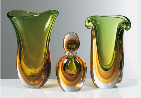Two vases and bottle in green, tobacco and amber