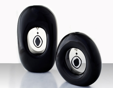 Unusual modern black vases with murrines