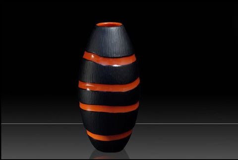 Black and coral hammered vase
