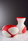 Spotted bowl vase and tall vase in coral and white