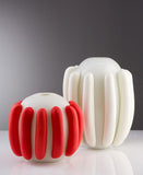 Coral and white vases