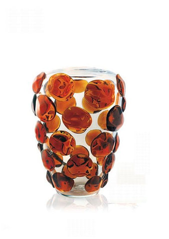 Crystal vase with multi-coloured dots