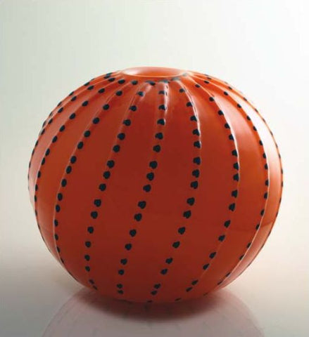 Orange spherical vase with contrasting colour