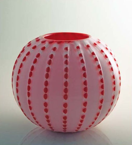 Pink spherical vase with contrasting colour